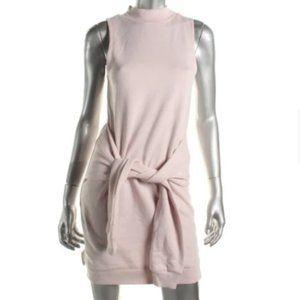 Pink Sleeveless Tie Front Sweatshirt Dress Sz S